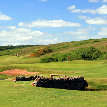 Stone bridge which provides access to the eighteenth green from the fairway on Drumoig Golf Course