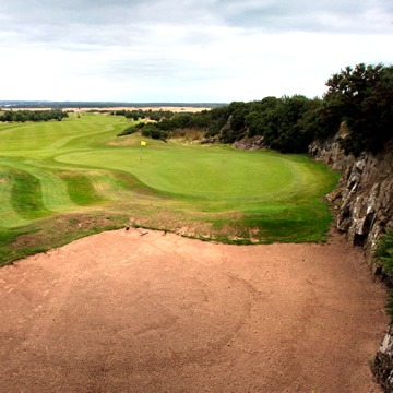View of the fifth green Drumoig Golf Course from the edge of the quarry