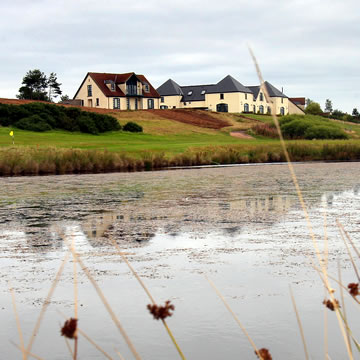 View of Drumoig Golf Hotel from the edge of the loch