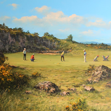 Painting of golfers on the fifth green on the Drumoig Golf Hotel